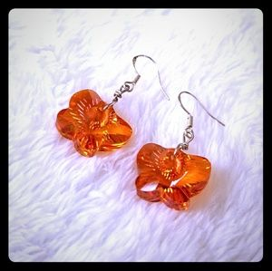 53825f510ad442 the Queens Hand by Naya Jewelry - Earrings Swarovski butterfly Orange  statement new